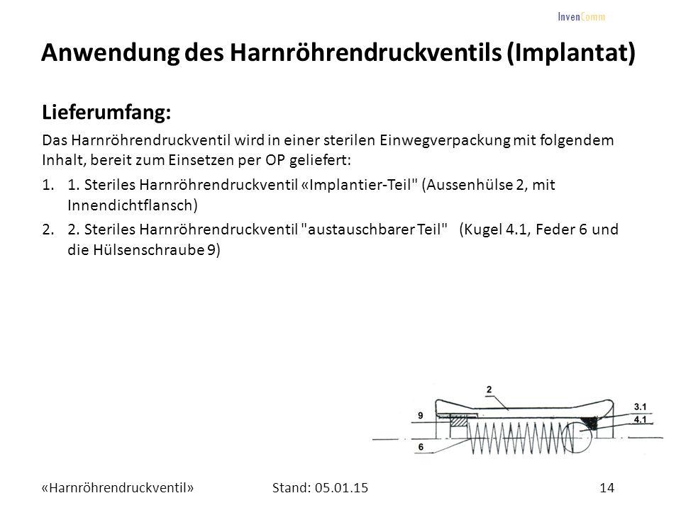 «Harnröhrendruckventil»14Stand: 05.01.15 InvenComm Anwendung des Harnröhrendruckventils (Implantat) Lieferumfang: Das Harnröhrendruckventil wird in ei