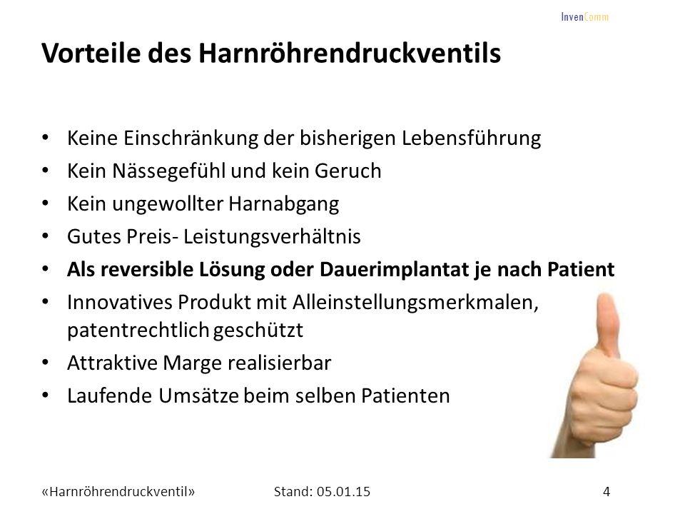 «Harnröhrendruckventil»4Stand: 05.01.15 InvenComm Vorteile des Harnröhrendruckventils Keine Einschränkung der bisherigen Lebensführung Kein Nässegefüh