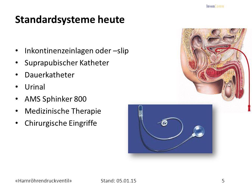 «Harnröhrendruckventil»5Stand: 05.01.15 InvenComm Standardsysteme heute Inkontinenzeinlagen oder –slip Suprapubischer Katheter Dauerkatheter Urinal AM