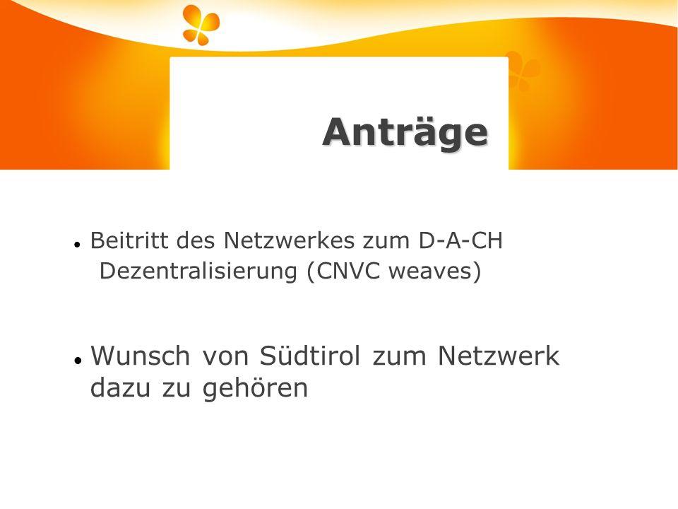 Anträge Beitritt des Netzwerkes zum D-A-CH Dezentralisierung (CNVC weaves) Wunsch von Südtirol zum Netzwerk dazu zu gehören