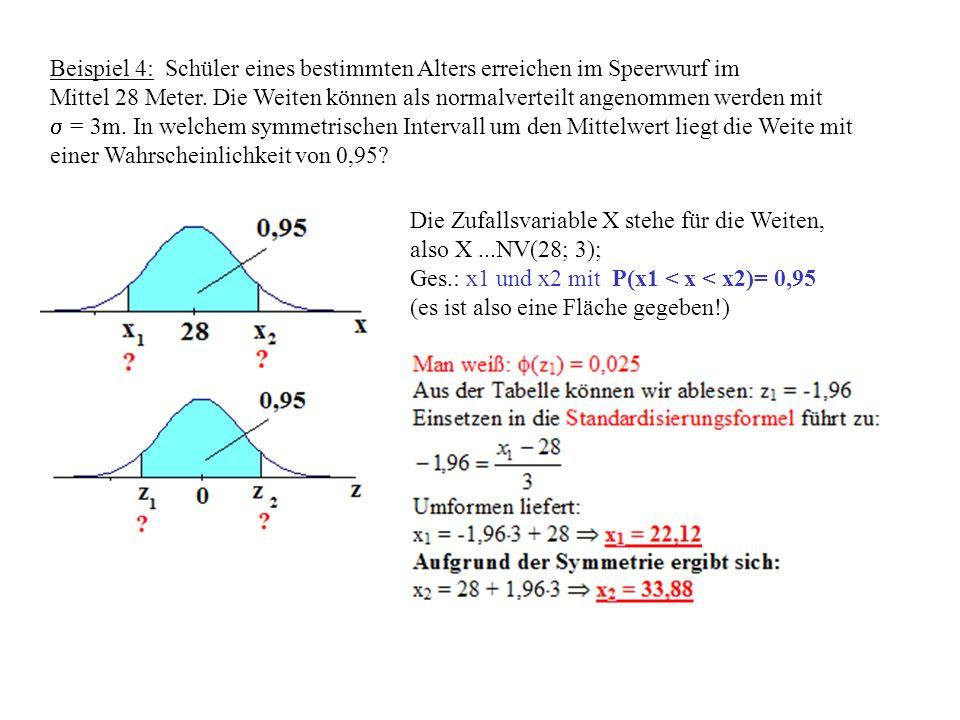 Beispiel 4: Schüler eines bestimmten Alters erreichen im Speerwurf im Mittel 28 Meter.