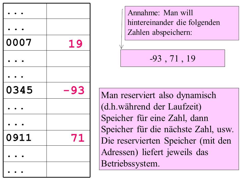 Annahme: Man will hintereinander die folgenden Zahlen abspeichern: -93, 71, 19 Man reserviert also dynamisch (d.h.während der Laufzeit) Speicher für eine Zahl, dann Speicher für die nächste Zahl, usw.