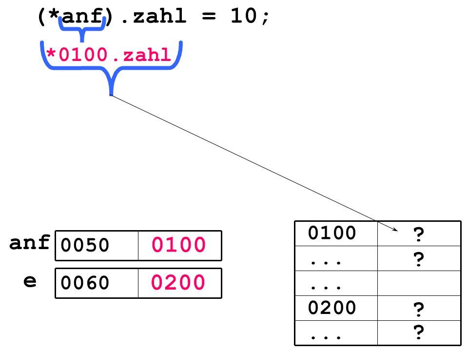 0100 0200 e 0050 0060 (*anf).zahl = 10;... 0200... 0100 *.zahl anf