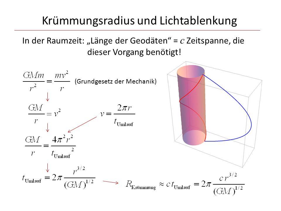 """Krümmungsradius und Lichtablenkung In der Raumzeit: """"Länge der Geodäten = c Zeitspanne, die dieser Vorgang benötigt."""