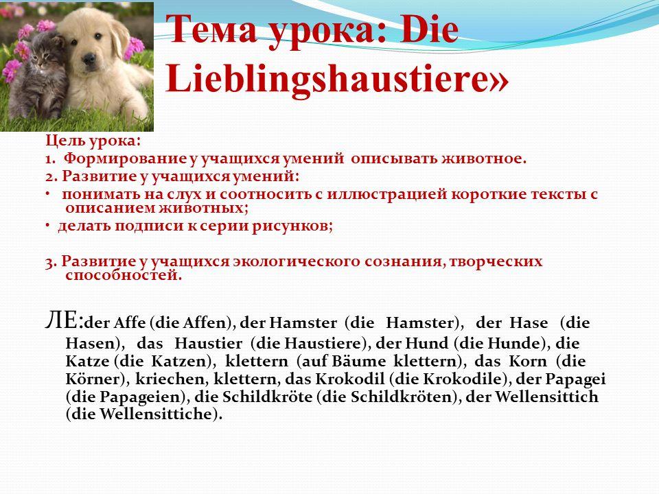 Тема урока: Die Lieblingshaustiere» Цель урока: 1. Формирование у учащихся умений описывать животное. 2. Развитие у учащихся умений: понимать на слух