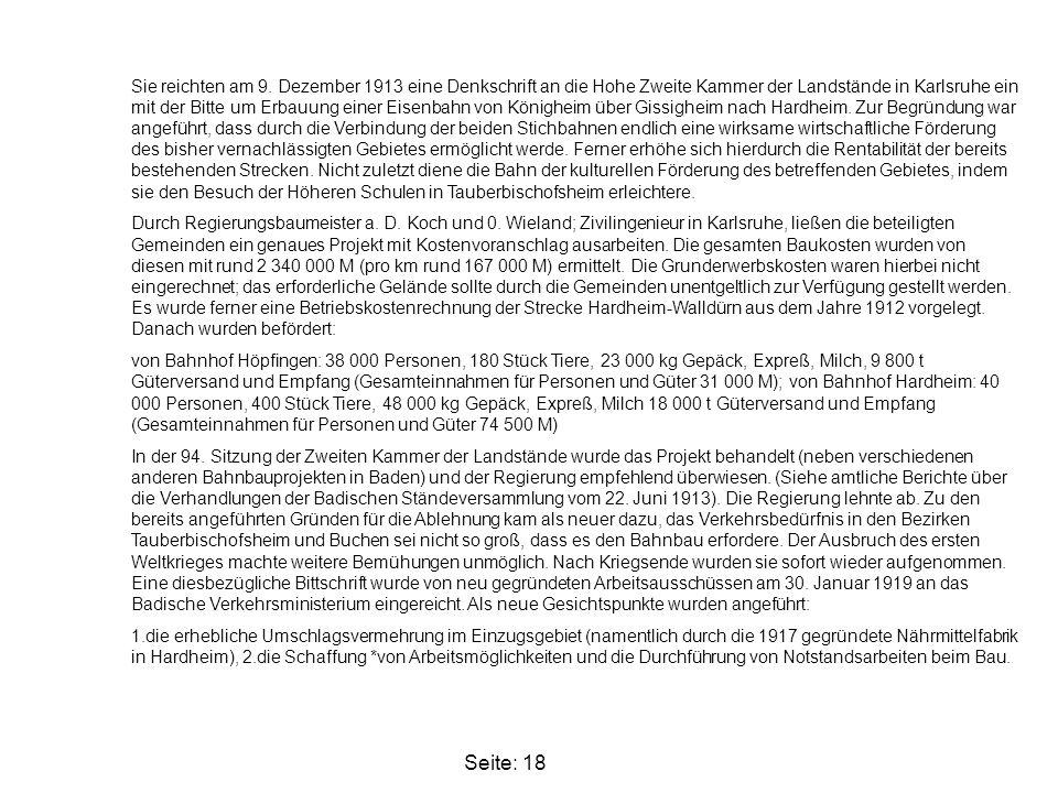 Seite: 18 Sie reichten am 9. Dezember 1913 eine Denkschrift an die Hohe Zweite Kammer der Landstände in Karlsruhe ein mit der Bitte um Erbauung einer