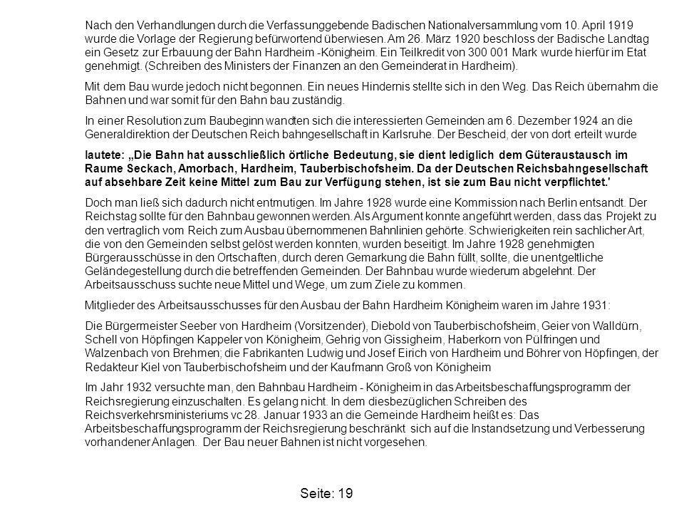 Seite: 19 Nach den Verhandlungen durch die Verfassunggebende Badischen Nationalversammlung vom 10. April 1919 wurde die Vorlage der Regierung befürwor