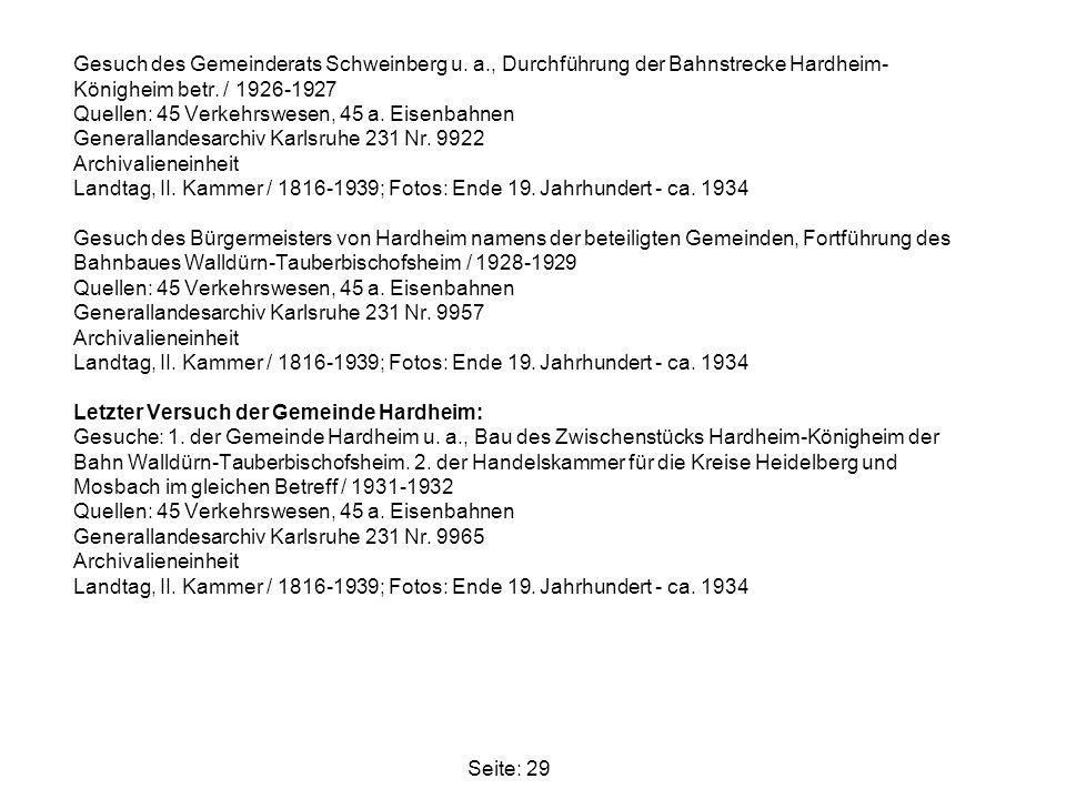 Gesuch des Gemeinderats Schweinberg u. a., Durchführung der Bahnstrecke Hardheim- Königheim betr. / 1926-1927 Quellen: 45 Verkehrswesen, 45 a. Eisenba