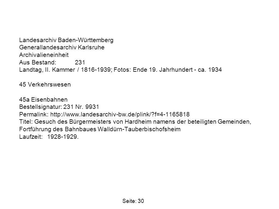 Landesarchiv Baden-Württemberg Generallandesarchiv Karlsruhe Archivalieneinheit Aus Bestand: 231 Landtag, II. Kammer / 1816-1939; Fotos: Ende 19. Jahr