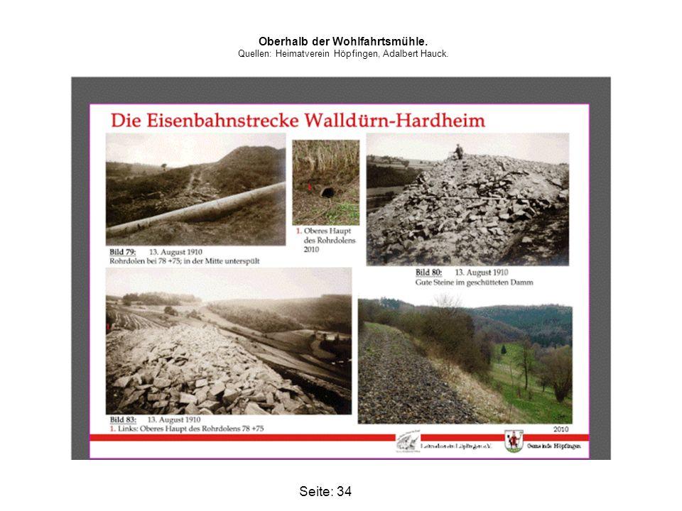 Seite: 34 Oberhalb der Wohlfahrtsmühle. Quellen: Heimatverein Höpfingen, Adalbert Hauck.