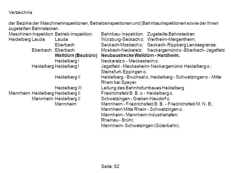 Seite: 52 Verzeichnis der Bezirke der Maschineninspektionen, Betriebsinspektionen und |Bahnbauinspektionen sowie der Ihnen zugeteilten Bahnstecken. Ma