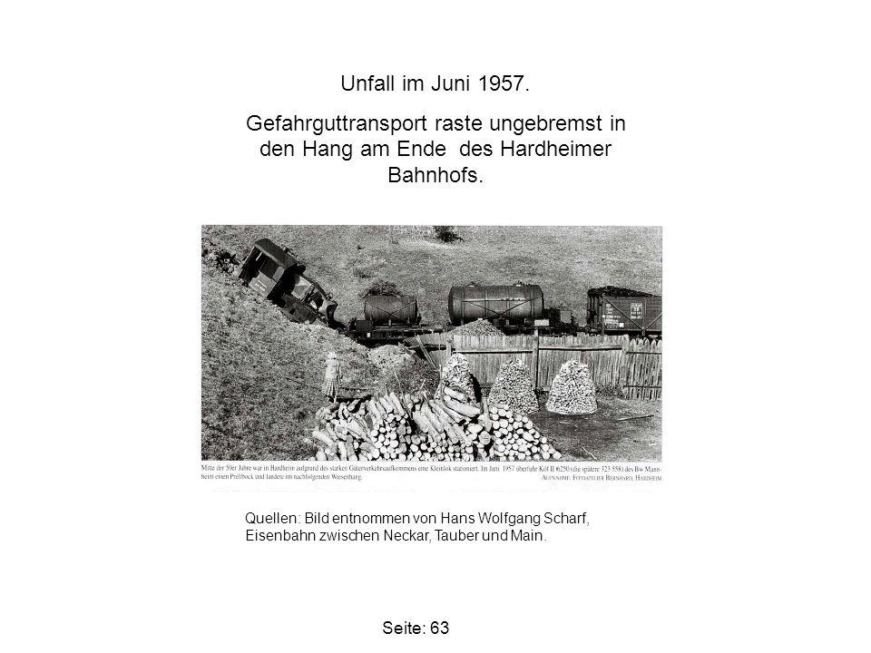 Seite: 63 Unfall im Juni 1957. Gefahrguttransport raste ungebremst in den Hang am Ende des Hardheimer Bahnhofs. Quellen: Bild entnommen von Hans Wolfg