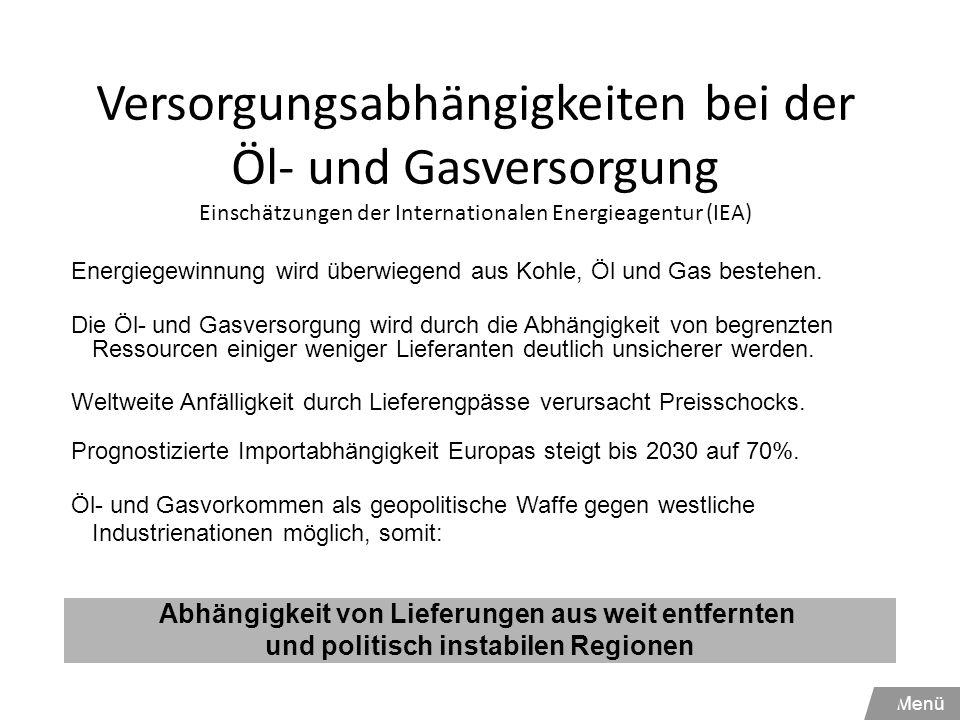 Versorgungsabhängigkeiten bei der Öl- und Gasversorgung Einschätzungen der Internationalen Energieagentur (IEA) Abhängigkeit von Lieferungen aus weit