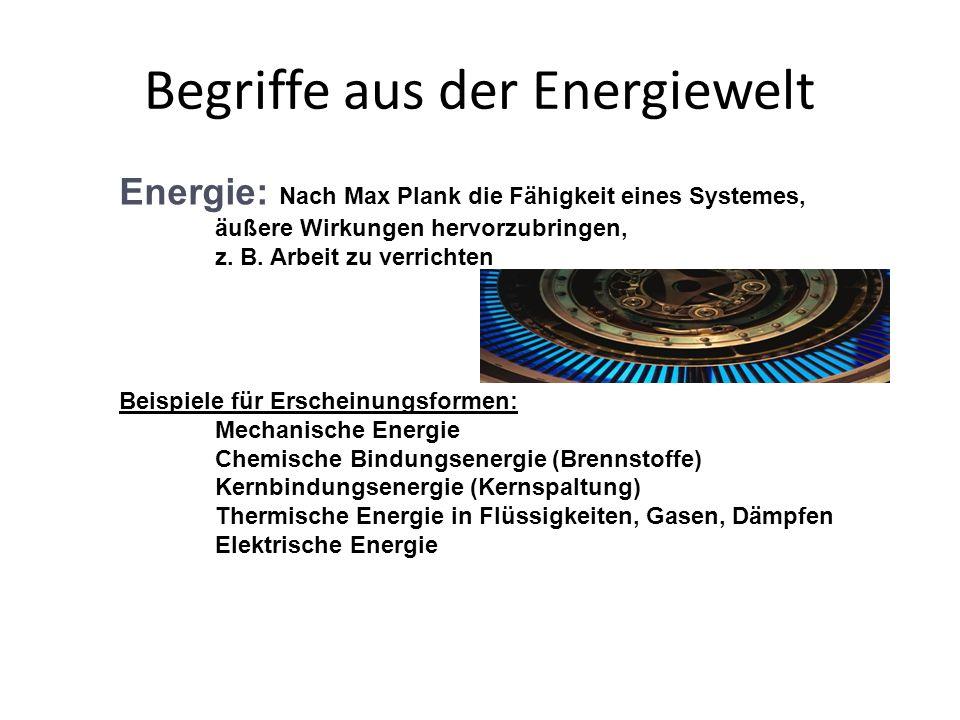 Begriffe aus der Energiewelt Energie: Nach Max Plank die Fähigkeit eines Systemes, äußere Wirkungen hervorzubringen, z. B. Arbeit zu verrichten Beispi