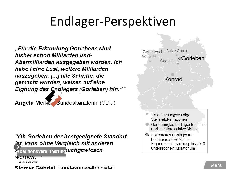 Endlager-Perspektiven Waddekath Konrad Gorleben Wahn Zwischenahn Gülze-Sumte Genehmigtes Endlager für mittel- und leichtradioaktive Abfälle Potentiell