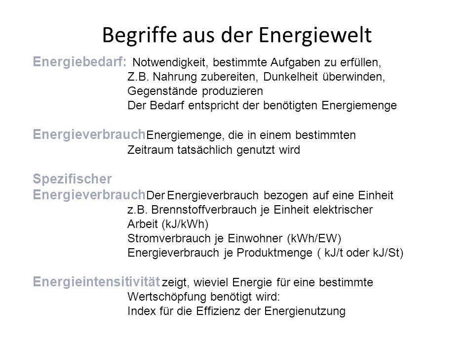 Begriffe aus der Energiewelt Energiebedarf: Notwendigkeit, bestimmte Aufgaben zu erfüllen, Z.B. Nahrung zubereiten, Dunkelheit überwinden, Gegenstände