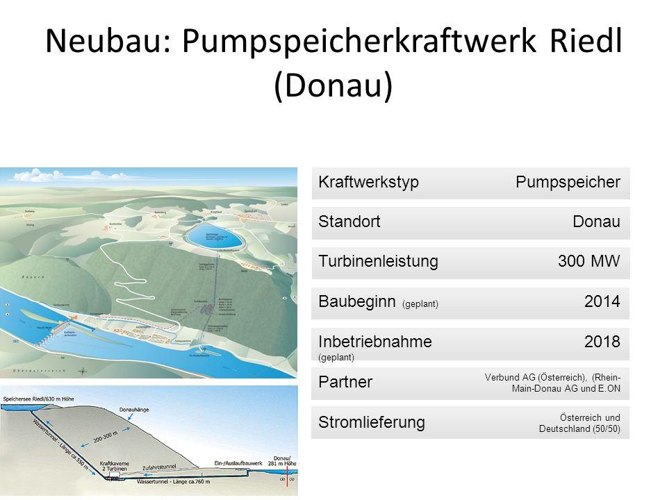 KraftwerkstypPumpspeicher StandortDonau Turbinenleistung300 MW Baubeginn (geplant) 2014 Inbetriebnahme (geplant) 2018 Partner Verbund AG (Österreich),