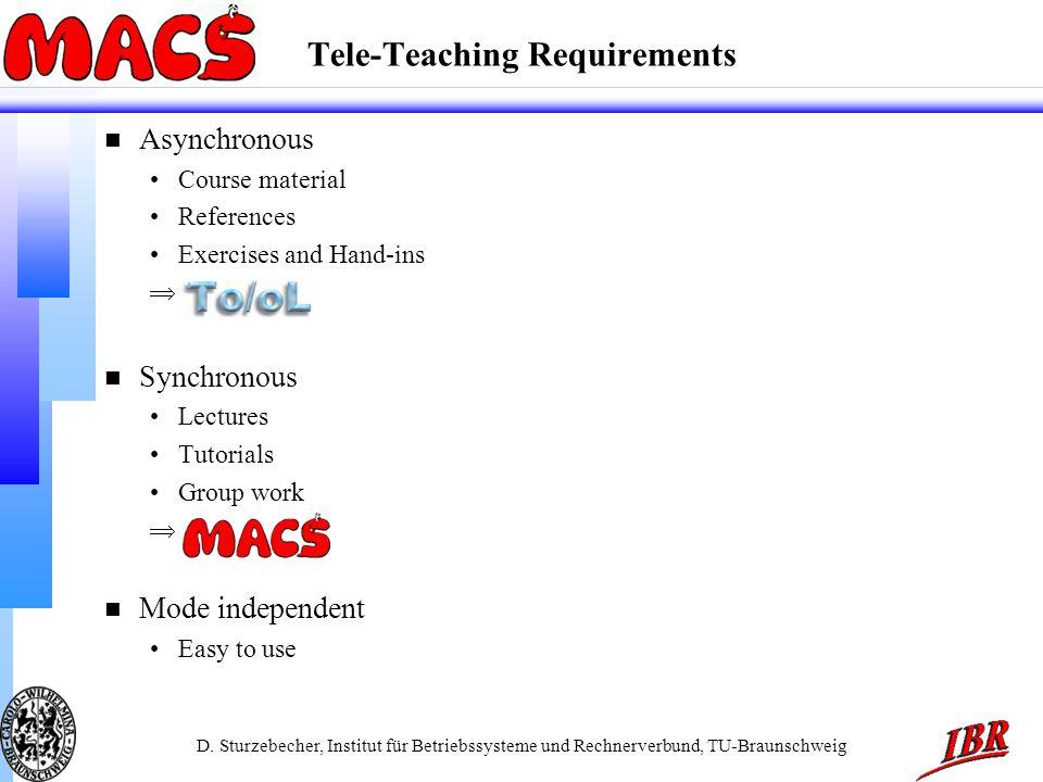 D. Sturzebecher, Institut für Betriebssysteme und Rechnerverbund, TU-Braunschweig Tele-Teaching Requirements n Asynchronous Course material References