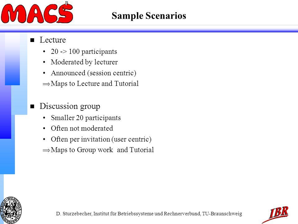 D. Sturzebecher, Institut für Betriebssysteme und Rechnerverbund, TU-Braunschweig Sample Scenarios n Lecture 20 -> 100 participants Moderated by lectu