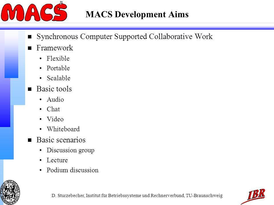 D. Sturzebecher, Institut für Betriebssysteme und Rechnerverbund, TU-Braunschweig MACS Development Aims n Synchronous Computer Supported Collaborative