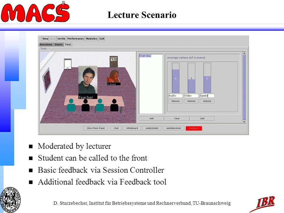 D. Sturzebecher, Institut für Betriebssysteme und Rechnerverbund, TU-Braunschweig Lecture Scenario n Moderated by lecturer n Student can be called to