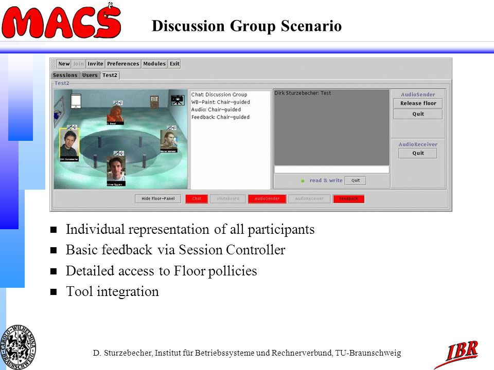D. Sturzebecher, Institut für Betriebssysteme und Rechnerverbund, TU-Braunschweig Discussion Group Scenario n Individual representation of all partici