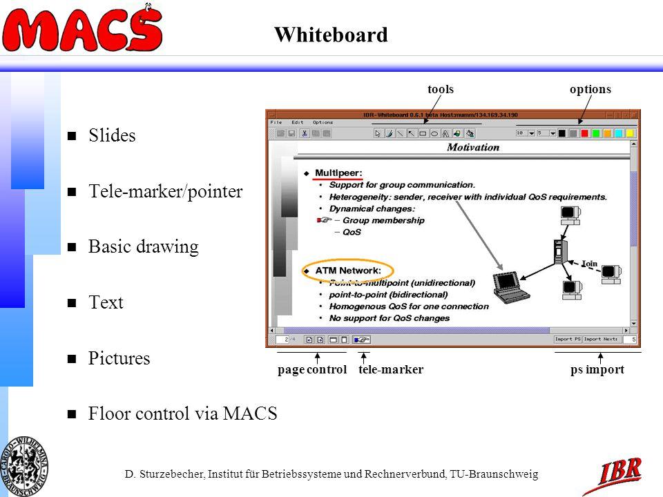 D. Sturzebecher, Institut für Betriebssysteme und Rechnerverbund, TU-Braunschweig Whiteboard n Slides n Tele-marker/pointer n Basic drawing n Text n P