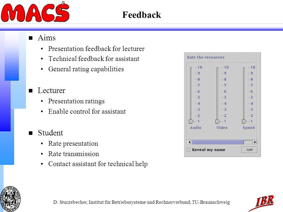 D. Sturzebecher, Institut für Betriebssysteme und Rechnerverbund, TU-Braunschweig Feedback n Aims Presentation feedback for lecturer Technical feedbac