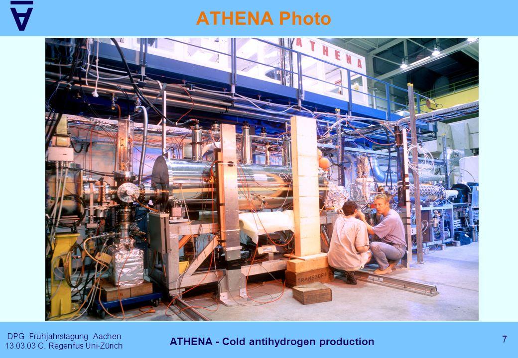 A DPG Frühjahrstagung Aachen 13.03.03 C. Regenfus Uni-Zürich 7 ATHENA - Cold antihydrogen production ATHENA Photo