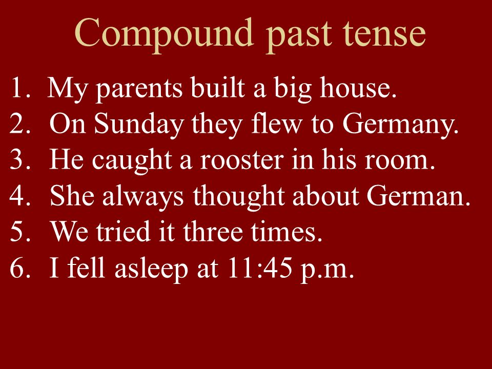 Compound past tense 1. My parents built a big house.