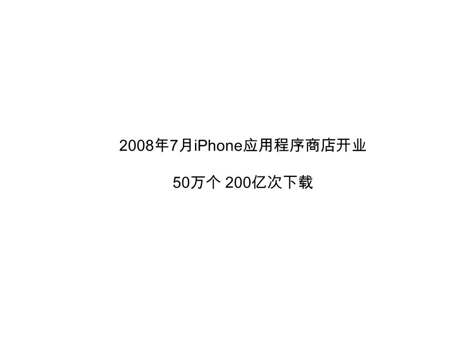 2008 年 7 月 iPhone 应用程序商店开业 50 万个 200 亿次下载