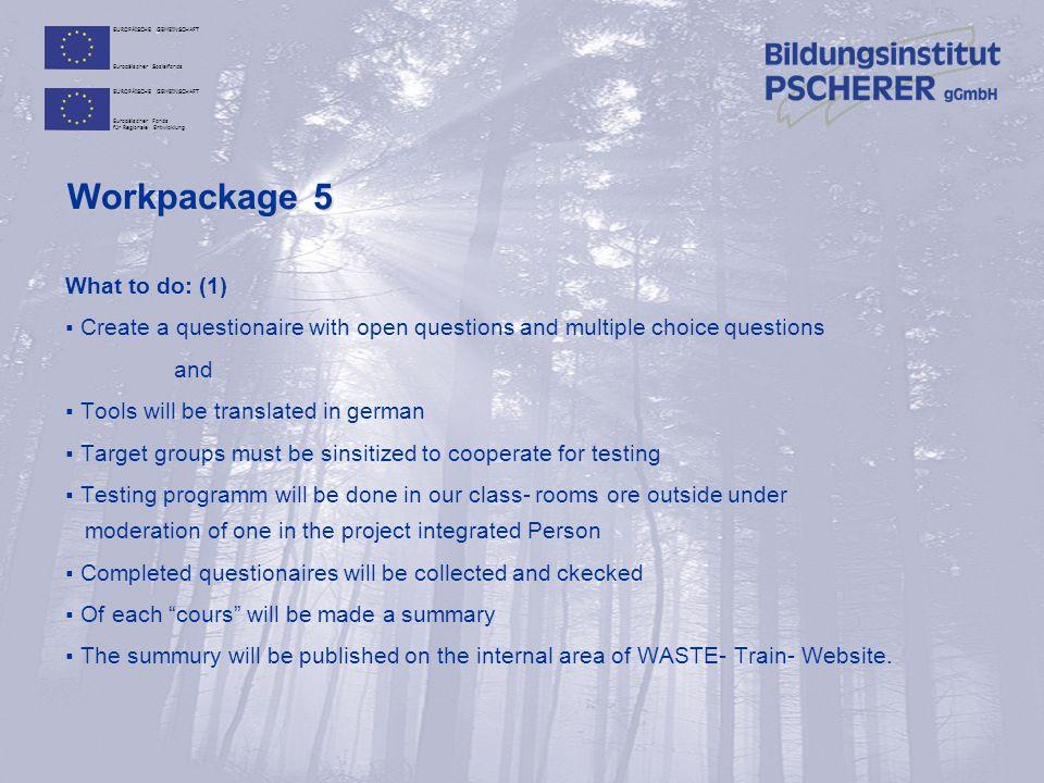 EUROPÄISCHE GEMEINSCHAFT Europäischer Sozialfonds EUROPÄISCHE GEMEINSCHAFT Europäischer Fonds für Regionale Entwicklung Workpackage 5 What to do: (1)