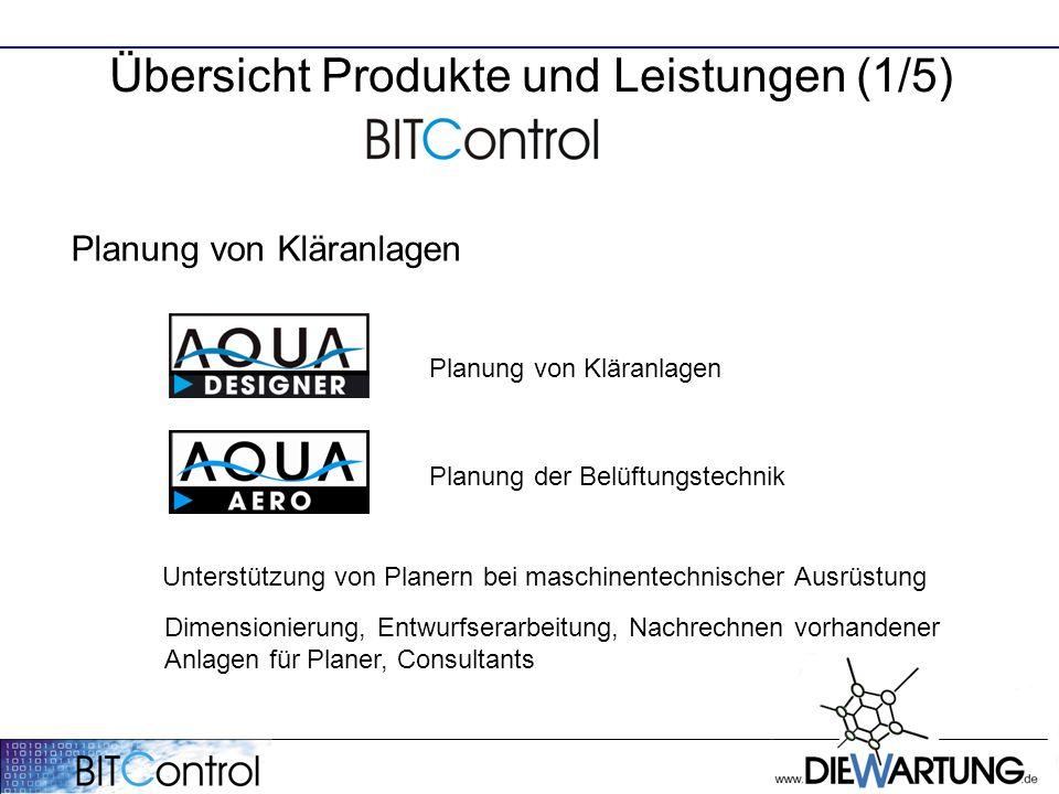 Übersicht Produkte und Leistungen (1/5) Planung von Kläranlagen Planung der Belüftungstechnik Unterstützung von Planern bei maschinentechnischer Ausrü