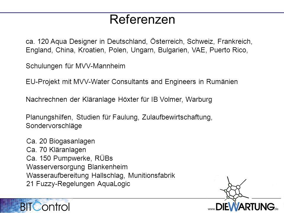 Referenzen ca. 120 Aqua Designer in Deutschland, Österreich, Schweiz, Frankreich, England, China, Kroatien, Polen, Ungarn, Bulgarien, VAE, Puerto Rico