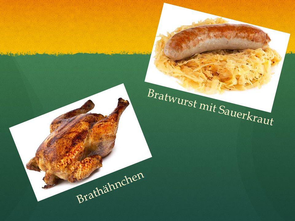 Bratwurst mit Sauerkraut Brathähnchen