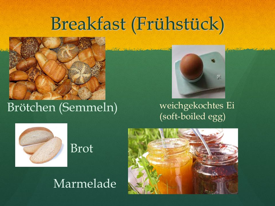 Breakfast (Frühstück) Brötchen (Semmeln) Marmelade weichgekochtes Ei (soft-boiled egg) Brot