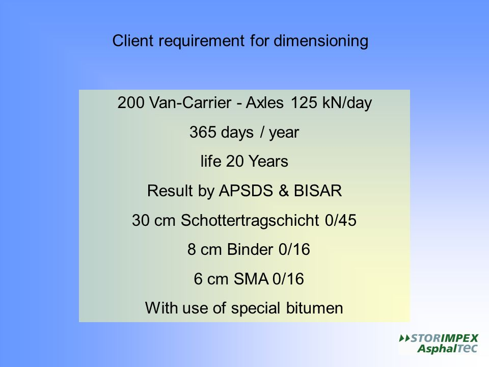 Client requirement for dimensioning 200 Van-Carrier - Axles 125 kN/day 365 days / year life 20 Years Result by APSDS & BISAR 30 cm Schottertragschicht 0/45 8 cm Binder 0/16 6 cm SMA 0/16 With use of special bitumen