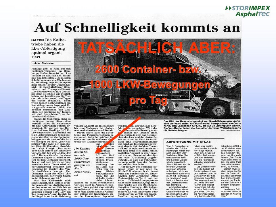 HOCHSTANDFESTE FLÄCHEN MIT ASPHALT TATSÄCHLICH ABER: 2600 Container- bzw. 1000 LKW-Bewegungen 1000 LKW-Bewegungen pro Tag