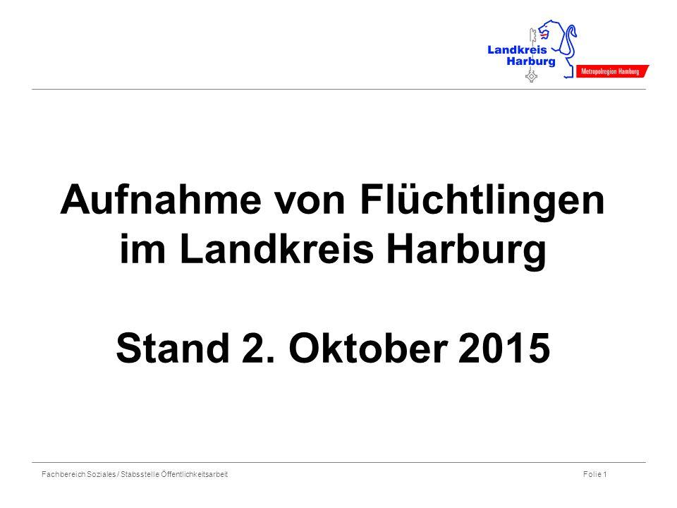 Fachbereich Soziales / Stabsstelle Öffentlichkeitsarbeit Folie 1 Aufnahme von Flüchtlingen im Landkreis Harburg Stand 2. Oktober 2015
