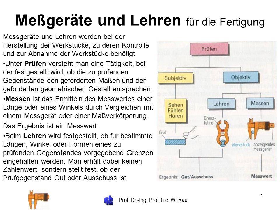 Prof. Dr.-Ing. Prof. h.c. W. Rau 1 Meßgeräte und Lehren für die Fertigung Messgeräte und Lehren werden bei der Herstellung der Werkstücke, zu deren Ko
