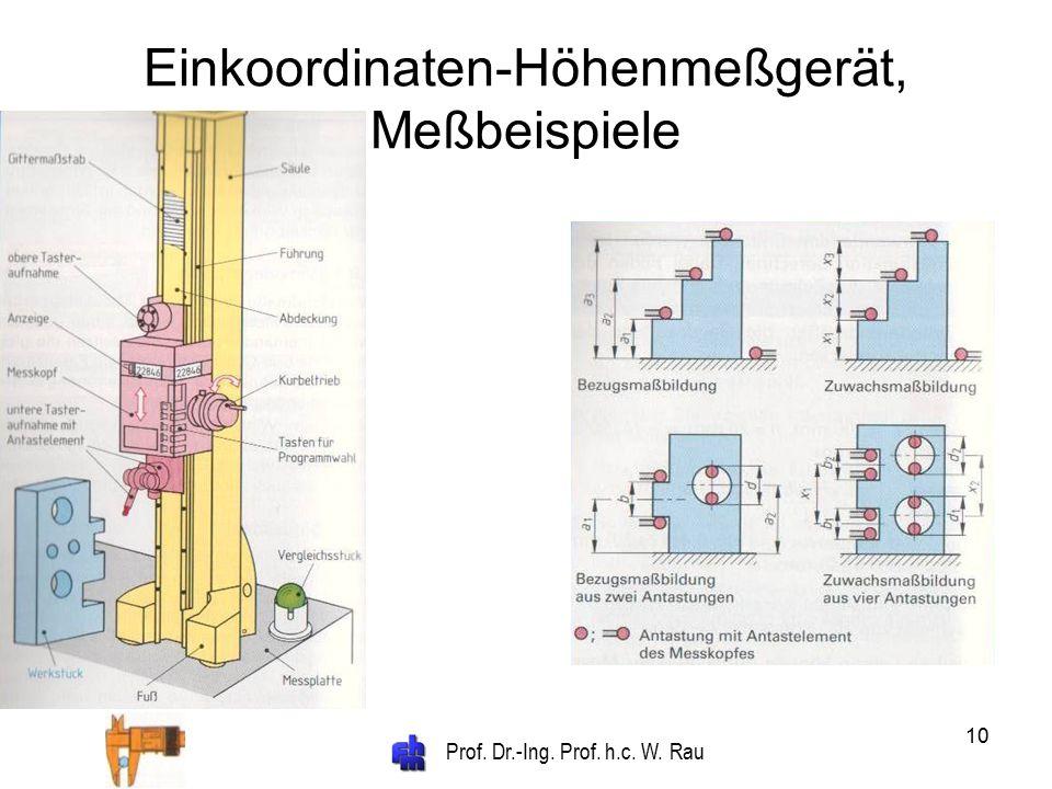 Prof. Dr.-Ing. Prof. h.c. W. Rau 10 Einkoordinaten-Höhenmeßgerät, Meßbeispiele