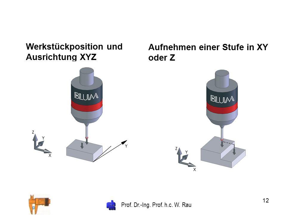 Prof. Dr.-Ing. Prof. h.c. W. Rau 12 Werkstückposition und Ausrichtung XYZ Aufnehmen einer Stufe in XY oder Z