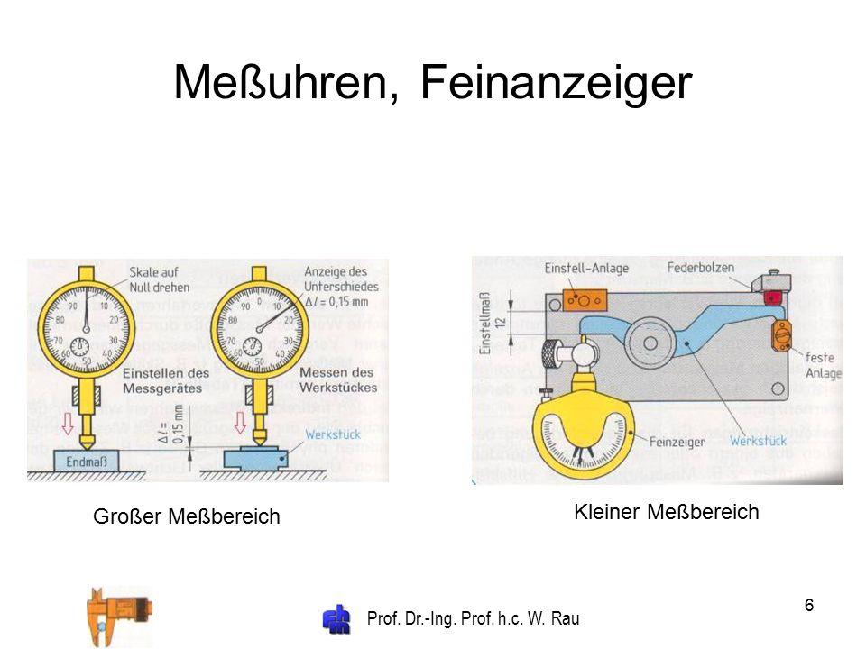 Prof. Dr.-Ing. Prof. h.c. W. Rau 6 Meßuhren, Feinanzeiger Großer Meßbereich Kleiner Meßbereich