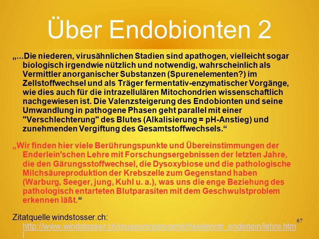 """66 Über Endobionten 1 """"Endobionten sind mikroskopisch und submikroskopisch kleine Lebewesen, deren Entwicklungszyklus von Prof."""
