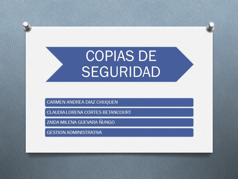 COPIAS DE SEGURIDAD CARMEN ANDREA DIAZ CHUQUENCLAUDIA LORENA CORTES BETANCOURTZAIDA MILENA GUEVARA ÑUNGOGESTION ADMINISTRATIVA