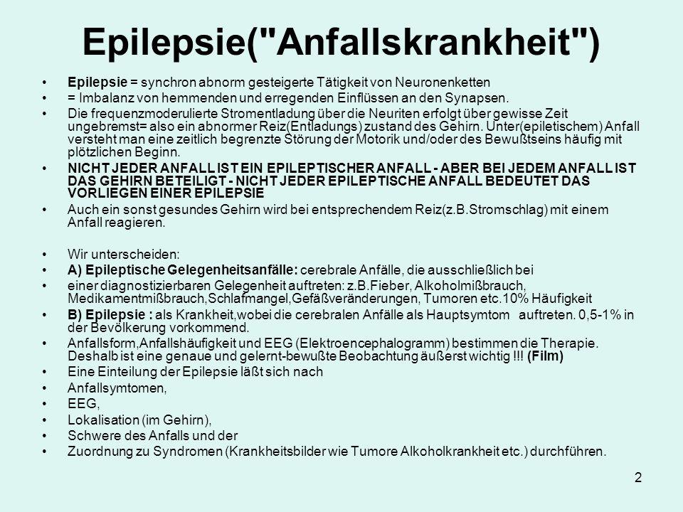 2 Epilepsie( Anfallskrankheit ) Epilepsie = synchron abnorm gesteigerte Tätigkeit von Neuronenketten = Imbalanz von hemmenden und erregenden Einflüssen an den Synapsen.