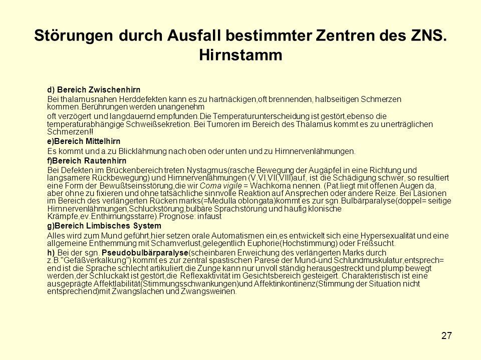 27 Störungen durch Ausfall bestimmter Zentren des ZNS.