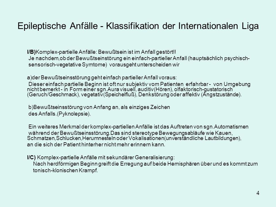 4 Epileptische Anfälle - Klassifikation der Internationalen Liga I/B)Komplex-partielle Anfälle: Bewußtsein ist im Anfall gestört!.