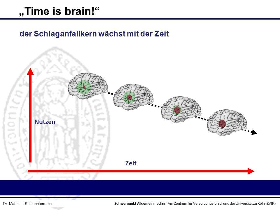 """Schwerpunkt Allgemeinmedizin Am Zentrum für Versorgungsforschung der Universität zu Köln (ZVfK) © Prof. Dr. J.W. Robertz """"Time is brain!"""" Zeit Nutzen"""
