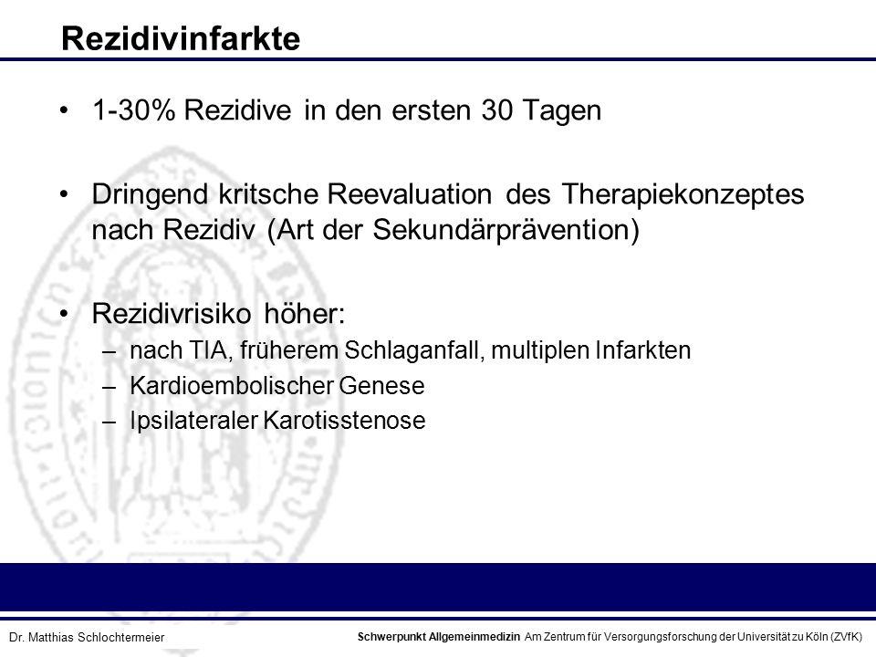 Schwerpunkt Allgemeinmedizin Am Zentrum für Versorgungsforschung der Universität zu Köln (ZVfK) © Prof. Dr. J.W. Robertz Rezidivinfarkte 1-30% Rezidiv